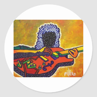 Guitar Music by Piliero Round Stickers