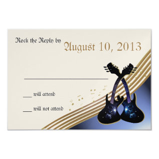 Guitar Music RSVP Card at Zazzle