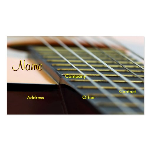 Guitar music teacher double sided standard business cards for Music business card template