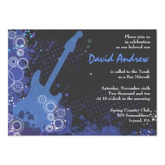 "Guitar Musical Bar Bat Mitzvah Invitation Party 5"" X 7"" Invitation Card"