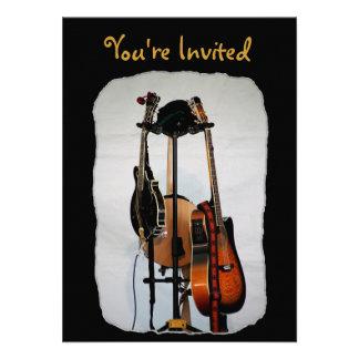 Guitar Musical Instruments Invitations