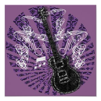 Guitar musical notes-choose any color background print