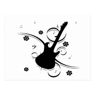 guitar  musical notes joy and happy postcard