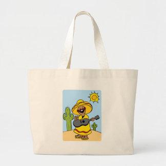 Guitar Musician Desert Cartoon Character Large Tote Bag