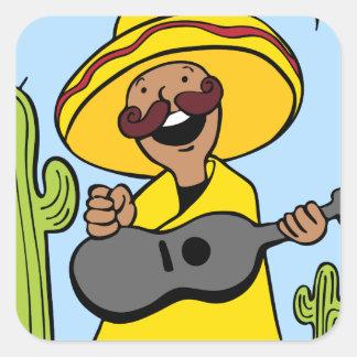 Guitar Musician Desert Cartoon Character Square Sticker
