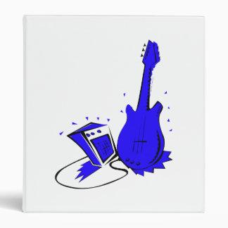 Guitar n amp stylized blue flat graphic 3 ring binder