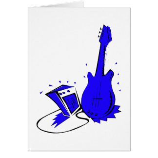Guitar n amp stylized blue flat graphic card