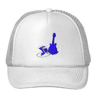 Guitar n amp stylized blue flat graphic trucker hat