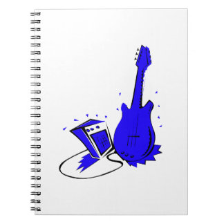 Guitar n amp stylized blue flat graphic note books