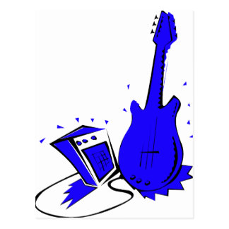 Guitar n amp stylized blue flat graphic postcard