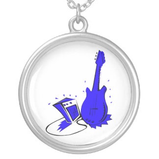Guitar n amp stylized blue flat graphic silver plated necklace