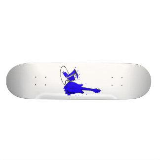 Guitar n amp stylized blue flat graphic custom skateboard