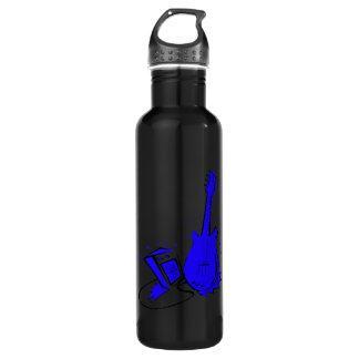 Guitar n amp stylized blue flat graphic water bottle