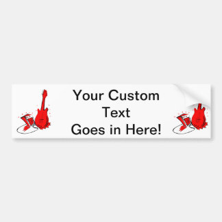 Guitar n amp stylized red flat graphic car bumper sticker