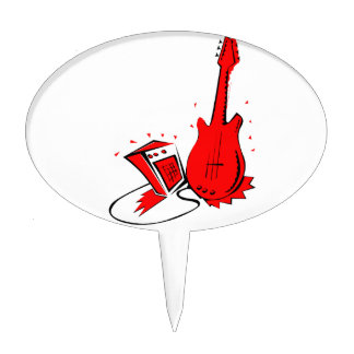 Guitar n amp stylized red flat graphic oval cake pick