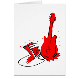 Guitar n amp stylized red flat graphic card