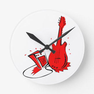 Guitar n amp stylized red flat graphic clocks