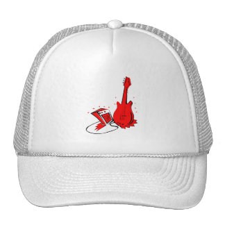 Guitar n amp stylized red flat graphic trucker hat