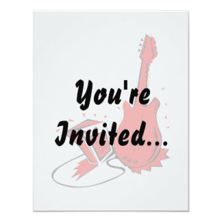 """Guitar n amp stylized red flat graphic 4.25"""" x 5.5"""" invitation card"""