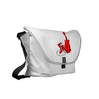 Guitar n amp stylized red flat graphic commuter bag