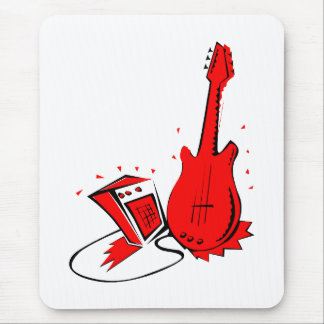 Guitar n amp stylized red flat graphic mouse pad