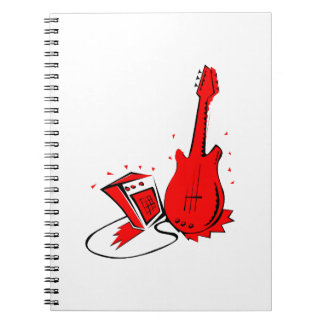 Guitar n amp stylized red flat graphic spiral note book