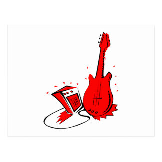 Guitar n amp stylized red flat graphic postcard