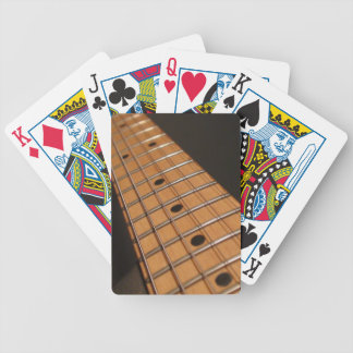 Guitar neck frets fretboard strings bicycle playing cards