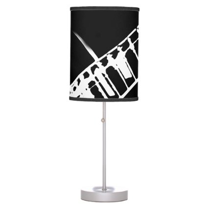 guitar neck stamp black and white desk lamp