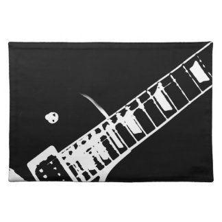 guitar neck stamp black and white placemat