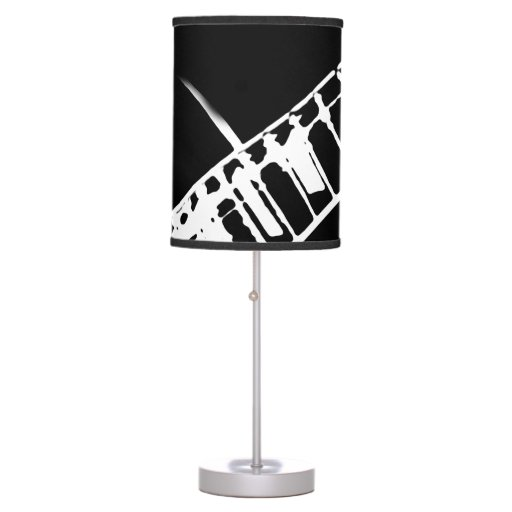 guitar neck stamp black and white table lamp zazzle. Black Bedroom Furniture Sets. Home Design Ideas