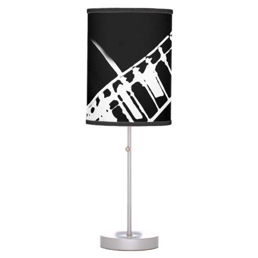guitar neck stamp black and white table lamp zazzle. Black Bedroom Furniture Sets. Home Design Ideas