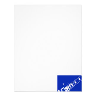 guitar neck stamp blue and white letterhead