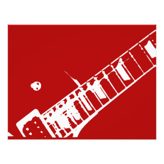 guitar neck stamp red and white musical instrument flyer