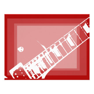 guitar neck stamp red and white musical instrument letterhead