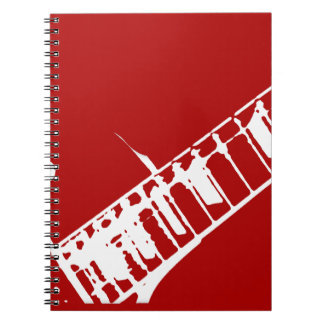 guitar neck stamp red and white musical instrument notebook