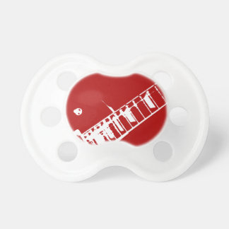 guitar neck stamp red and white musical instrument pacifier