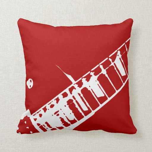 Throw Pillows Red And White : guitar neck stamp red and white musical instrument throw pillow Zazzle