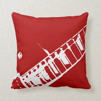 guitar neck stamp red and white musical instrument throw pillow