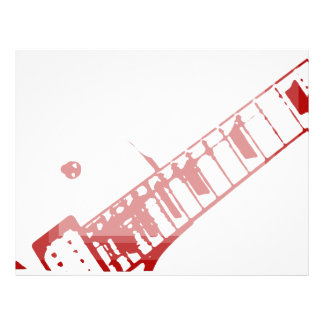 guitar neck stamp white and red instrument letterhead