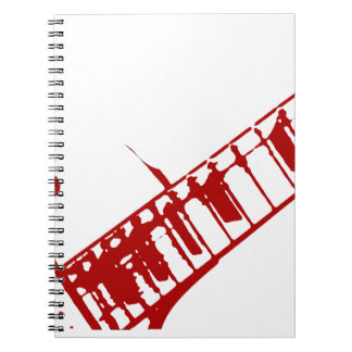 guitar neck stamp white and red instrument notebook