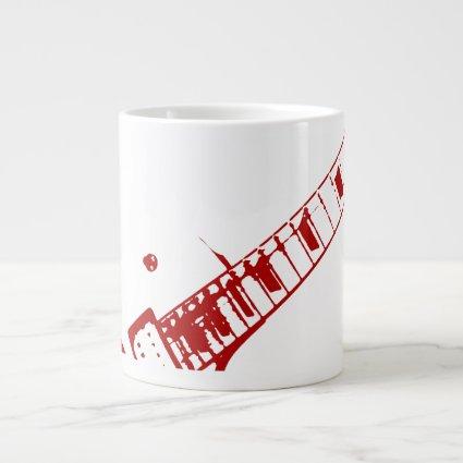 guitar neck stamp white and red instrument jumbo mugs