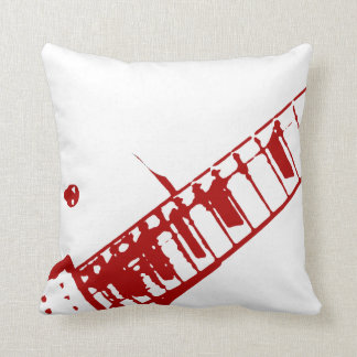 guitar neck stamp white and red instrument throw pillow