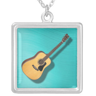 GUITAR-NECKLACE SILVER PLATED NECKLACE