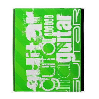 Guitar; Neon Green Stripes iPad Folio Case