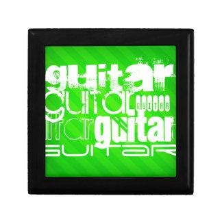 Guitar; Neon Green Stripes Jewelry Box