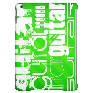 Guitar; Neon Green Stripes iPad Air Case