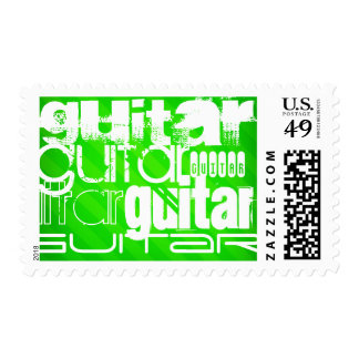Guitar; Neon Green Stripes Stamps