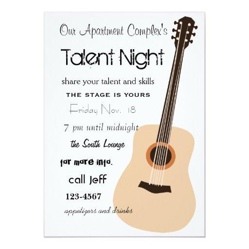 "Guitar Night 5"" X 7"" Invitation Card"