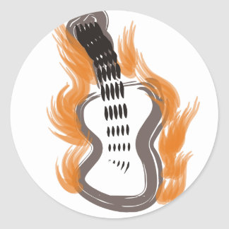Guitar on Fire Classic Round Sticker